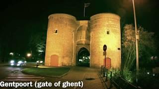 Bruges the town gates: Ezelpoort, Smedenpoort, Kruispoort and Gentpoort.
