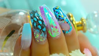 REAL FEATHER ACRYLIC NAIL DESIGN