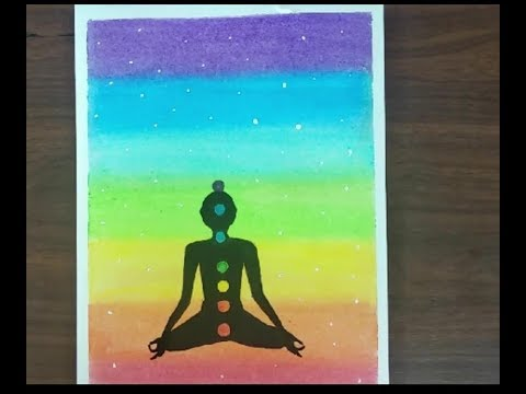 Yoga Chakra Drawing With Oil Pastels International Yoga Day Drawing For Beginners Youtube