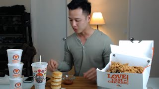 mukbang with thien popeyes fried chicken biscuits and mashed potatoes