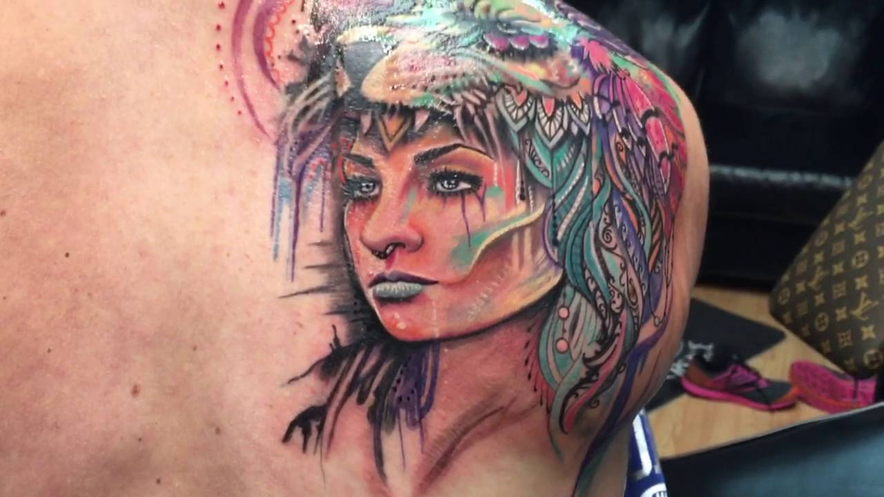 Cross Fit Girl Gets Watercolor Warrior With Lion Headdress Youtube