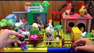 Ферма домашних животных. Видео для детей с игрушками из конструктора. Новые мультики