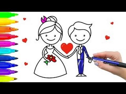 Como desenhar noivos. Colorir páginas de casamento para crianças com marcadores coloridos