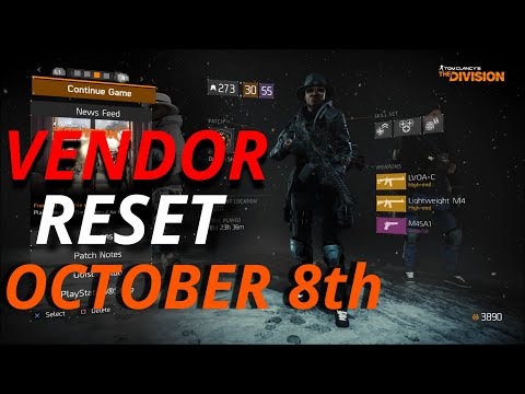 TOM CLANCY'S THE DIVISION 1.8.3 VENDOR RESET BEST GEAR AND MODS OCTOBER 8th 2021 |