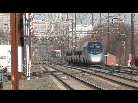 Amtrak & NJ Transit HD 60fps: Northeast Corridor High Speed Train Action @ Jersey Avenue (12/11/18)