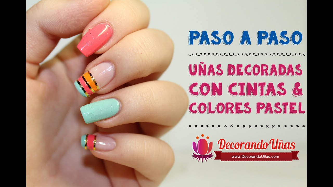 U as con cintas doradas y tonos pastel youtube for Decoracion de unas simple