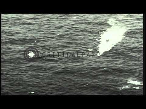 Wake due to movement of German submarine U-2513 underway in the Atlantic Ocean du...HD Stock Footage