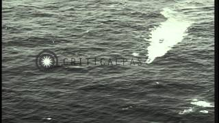 Wake due to movement of German submarine U-2513 underway in the Atlantic Ocean du...HD Stock Footage