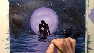 How to draw a moonlit night with colors step by step / DIY Let's draw it/