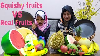 Squishy Fruits VS Real Fruits Challenge