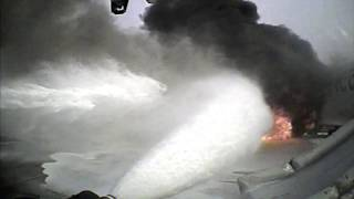 Crash Truck Dash Cam #3: AA 383 Engine Fire at O'Hare (Best View of Purple-K; No Audio)
