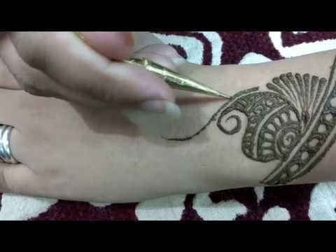 Easy Mehndi Tutorial : Arabic mehndi design for back hands simple