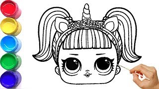Lol Doll Unicorn Makeup Coloring And Drawing Painting Learn To Draw