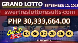 PCSO LOTTO RESULTS SEPTEMBER 12 2018 9PM all draw