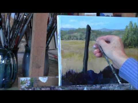 "Summer Daisies Country Acrylic Landscape Painting Demo ""Summer Daydream"" Part 1"
