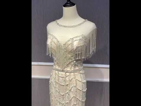 Luxus Designer Meerjungfrau Abendkleid Lang Silber Tull Perlen Fransen Glitzer Youtube