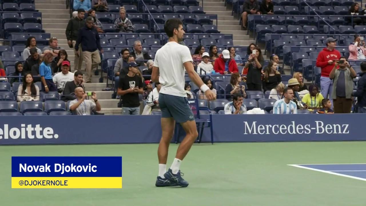 Novak Djokovic Warms Up For The 2018 Us Open Men S Final Youtube