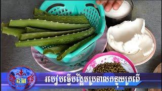 របៀបធ្វើបង្អែមប្រទាលកន្ទុយក្រពើ Aloe Vera  Dessert Recipe - Khmer Dessert