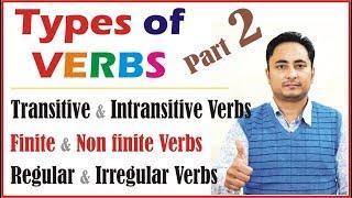 Types of Verbs: Regular and Irregular verbs Finite and Nonfinite verbs Transitive Intransitive verbs