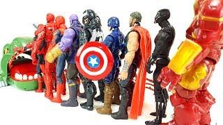 Spider-Man, Captain-America, Iron Man Hulkbuster, Hulk, Dive into the Dinosaur