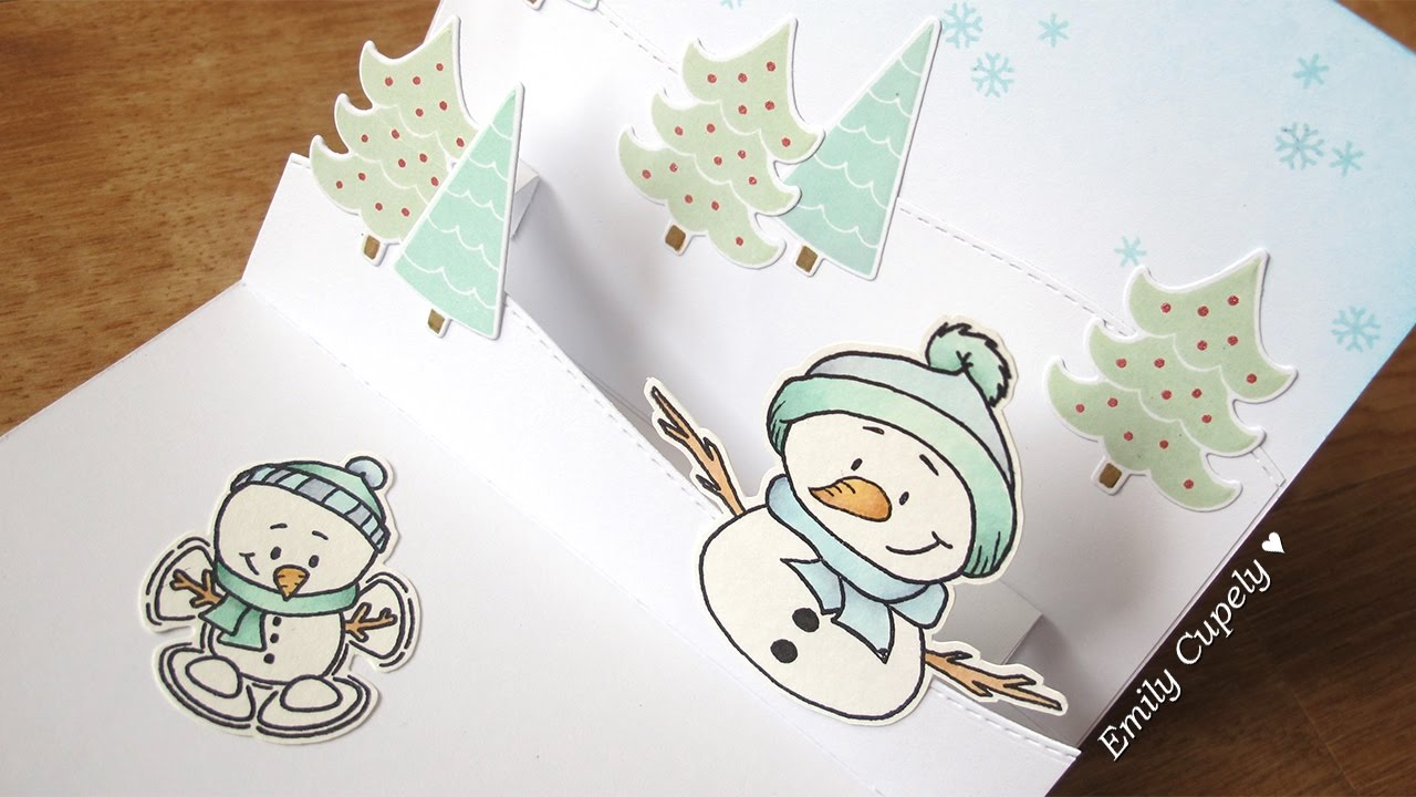 DIY Pop Up Panel Winter Card YouTube