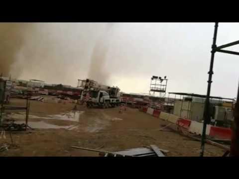 Dramatic Double Tornados Seen in Al Khor