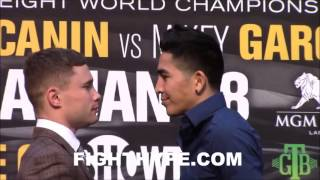 CARL FRAMPTON AND LEO SANTA CRUZ SERIOUS STAREDOWN; COME FACE TO FACE AHEAD OF EXCITING REMATCH