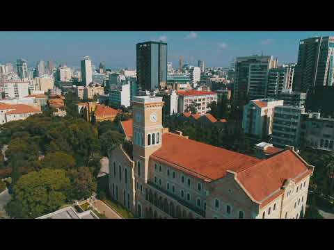 Drone Views Over The American University of Beirut (AUB), LEBANON