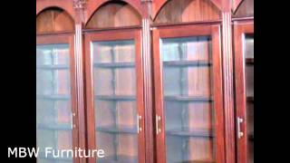 11ft Wide Mahogany Sectional Bookcase Cabinet Display (mbwjtbcs005s-dbnc)