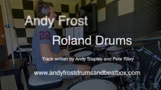 Andy Frost Drums. Playing a backing track in 9/8 time signature.