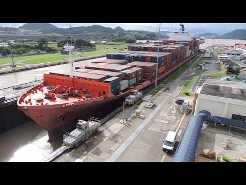 Ship passing through Panama Canal - Miraflores Locks