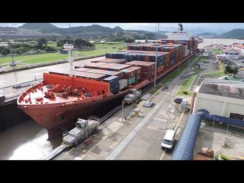 Ship passing through Panama Canal - Miraflores Locks