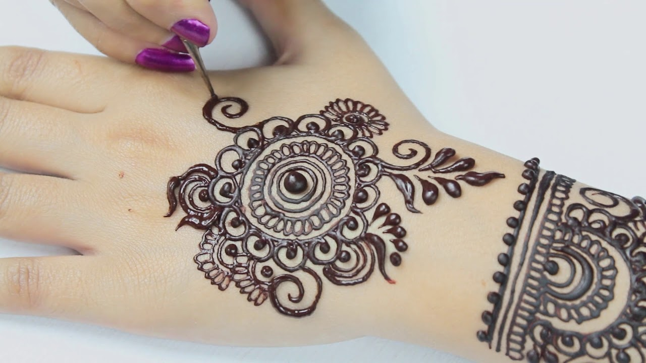 How To Apply Easy Mandala (Cricle) Stylish Flowers Henna