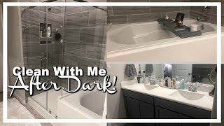 Clean with Me After Dark! | Master Bathroom | Plus Size Vlog