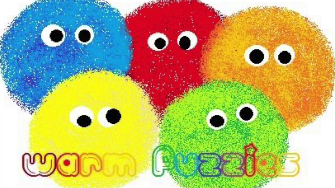five warm fuzzy balls in different colors, with the title