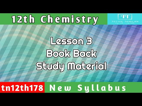 12th Chemistry Lesson 3 Book Back Study Material (English