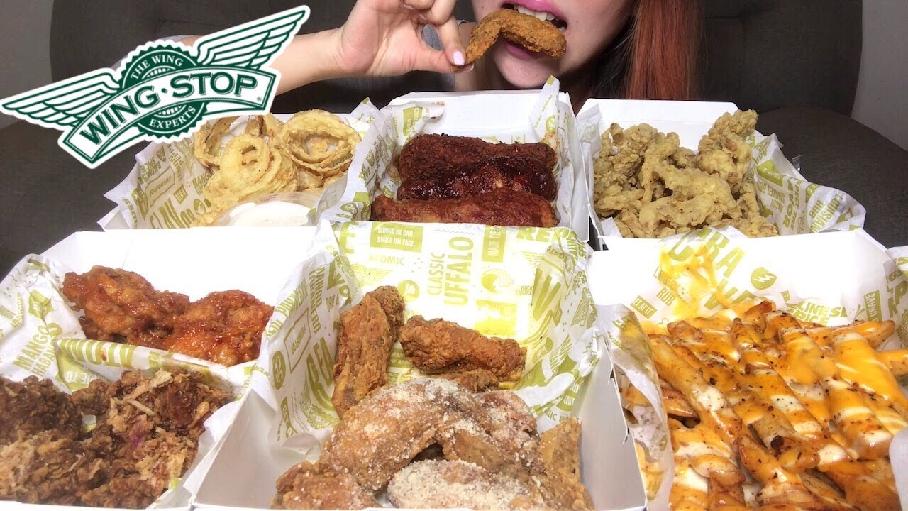 Asmr Wingstop Feast Onion Rings Cheesy Fries Wings Crunchy Eating Sounds No Talking