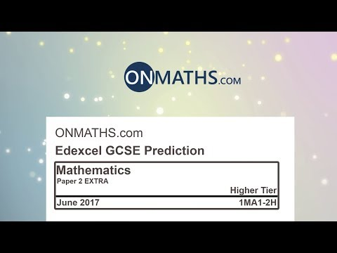 2017 Edexcel EXTRA Paper 2 Predicted Higher Maths GCSE Paper for Calculator Exam 1MA1/2H