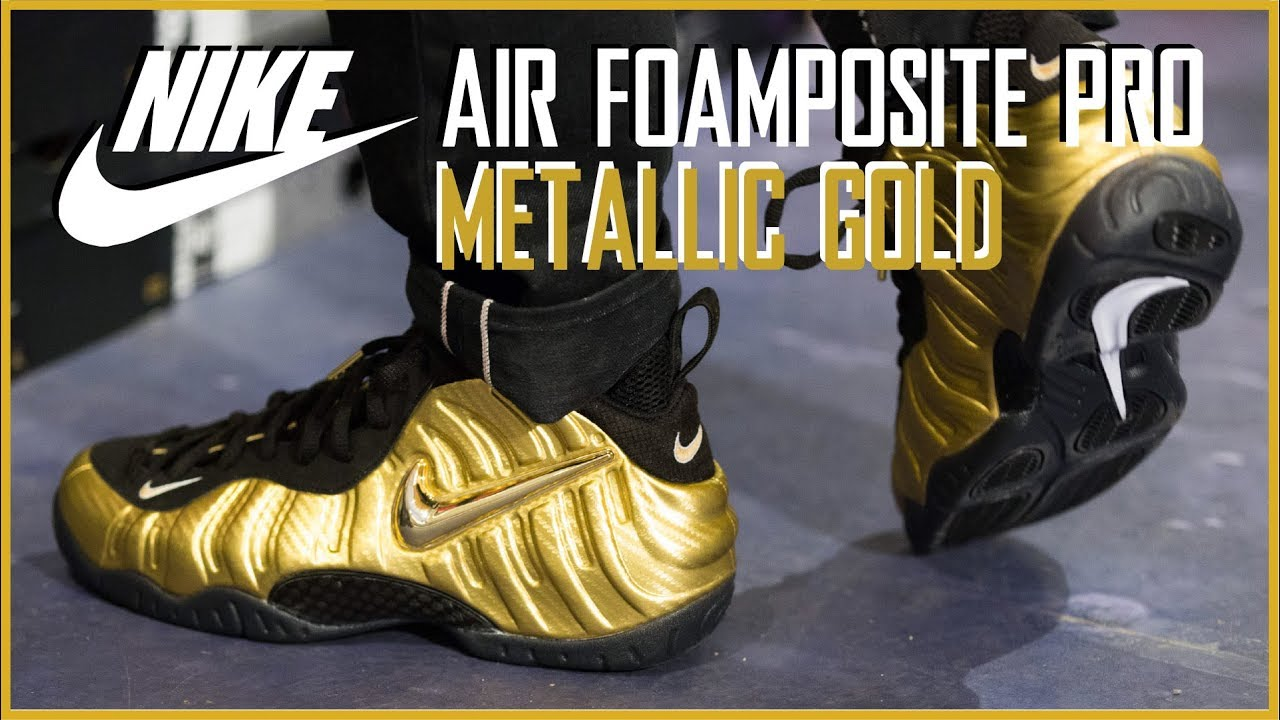 metallic gold foamposite outfit