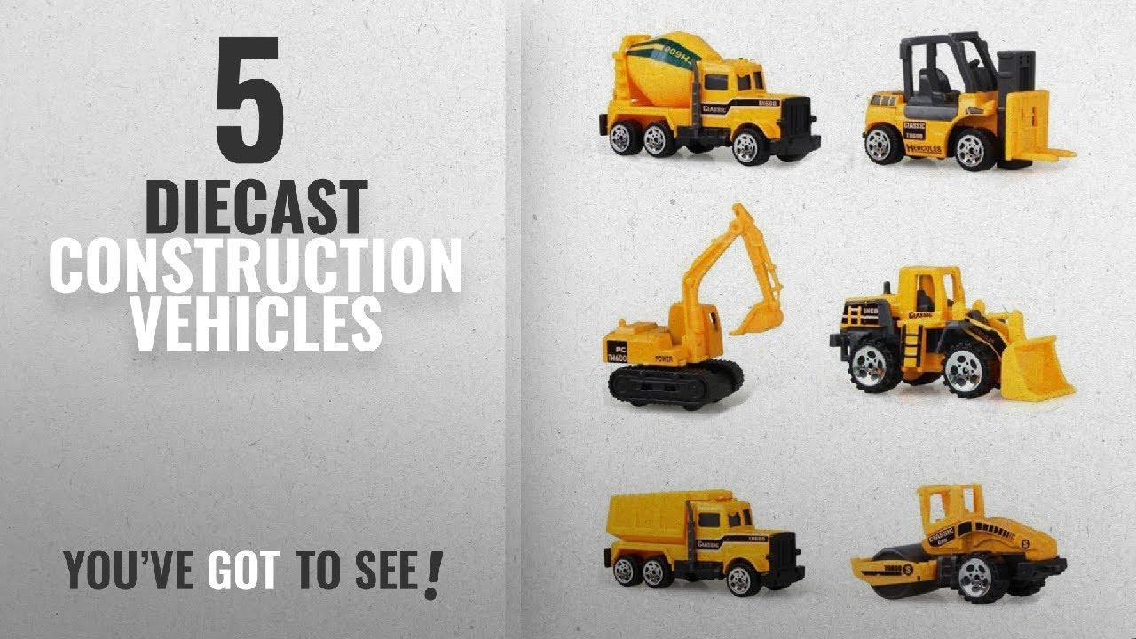 Cltoyvers 6 Pieces Mini Metal Construction Vehicle Toys Set