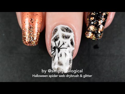 Halloween Themed Spider Nail Art Dry Brush And Glitter Youtube