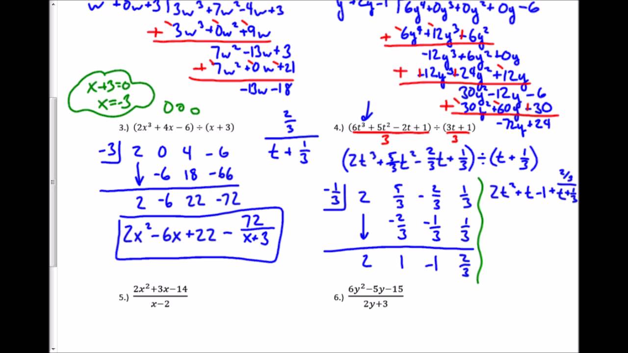 54 Dividing Polynomials Worksheet Youtube