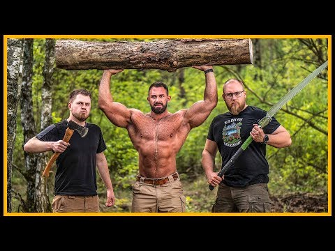 Axtwerfen mit Kevin Wolter - Bodybuilder in der Wildniss - Outdoor Bushcraft Survival
