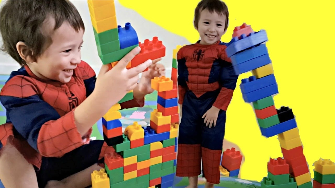 Toddlers Playing With Building Blocks Toys - Spider-Kids ...