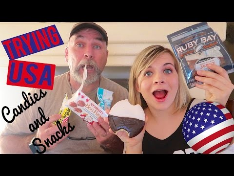 TRYING WEIRD USA SNACKS AND CANDIES! 🇺🇸 (W/ My Dad!) // SoCassie