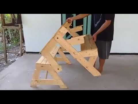 Innovative Foldable Wooden Table Chair
