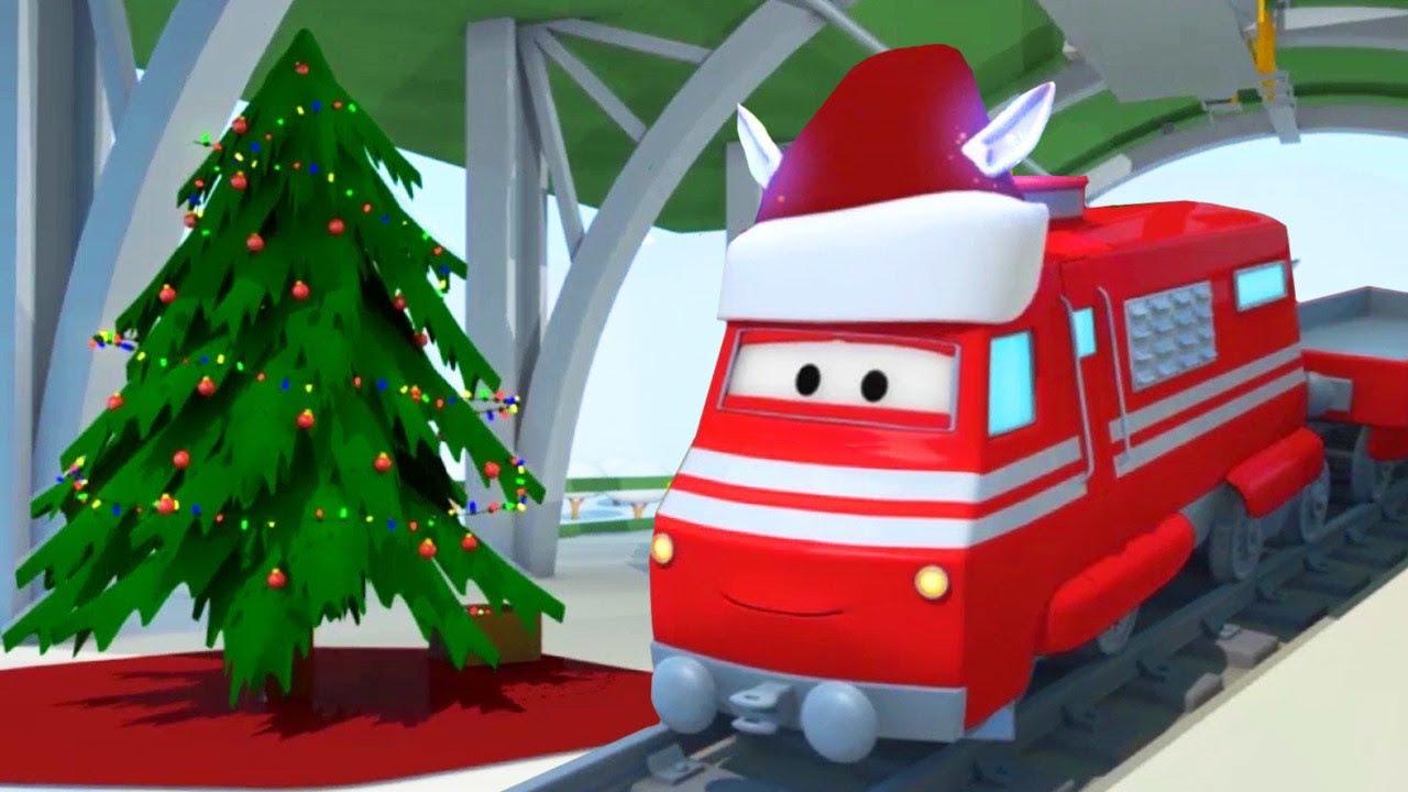 desene cu camioane pentru copii - Trenul Elf de Craciun  | Trenuletul Troy | Car City World App