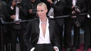 Charlize Theron stuns on the red carpet for the Premiere of The Last Face in Cannes