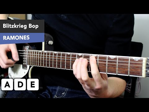EASY 3 Chord Punk Guitar Song - Blitzkreig Bop Guitar Lesson