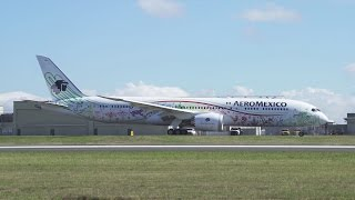 """Aeromexico 787-9 """"Quetzalcoatl"""" First Flight at Paine Field"""